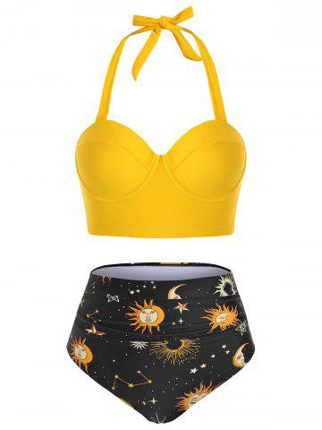 Halter Push Up Astrology Sun Stars Moon Print Ruched Tankini Swimwear - YELLOW - M