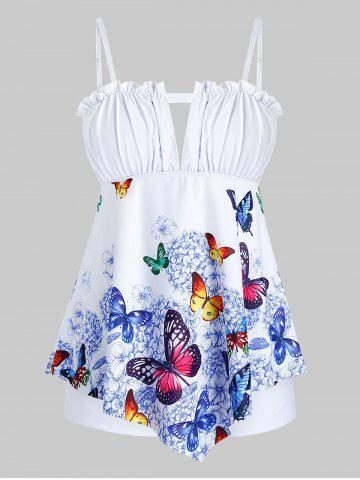Plus Size Butterfly Print Keyhole Ruffled Trim Tankini Swimwear - WHITE - 1X