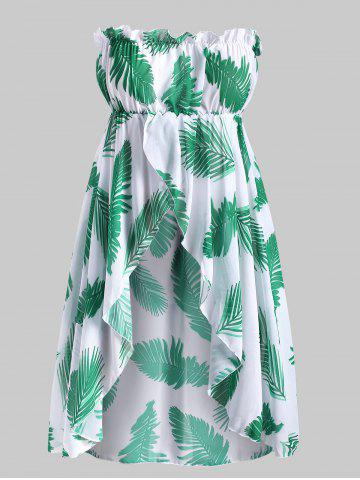 Strapless Leave Print Chiffon Plus Size Cover Up Top