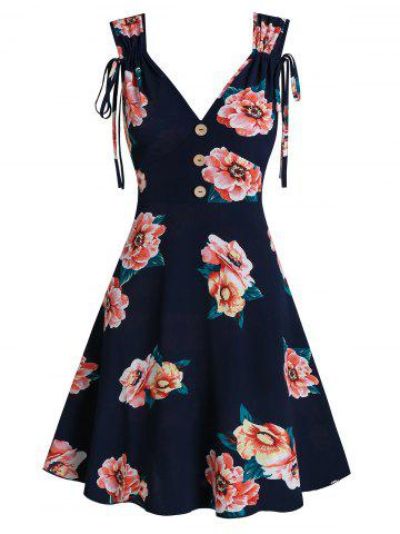 Flower Print Cinched Sleeveless Mock Button Dress