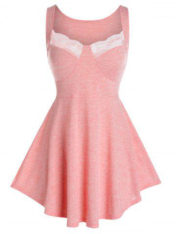 Plus Size Lace Insert Heathered Skirted Tank Top - FLAMINGO PINK - 3X