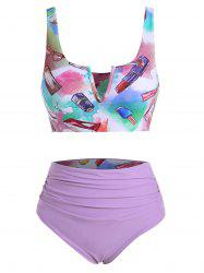 Fashion Accessories Makeup Print V-wired Ruched Reversible Tankini Set -