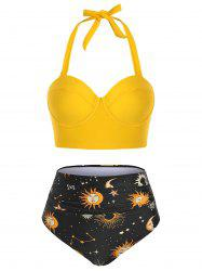 Halter Push Up Astrology Sun Stars Moon Print Ruched Tankini Swimwear -