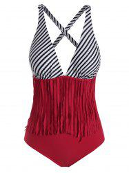 Striped Fringed Padded One-piece Swimsuit -