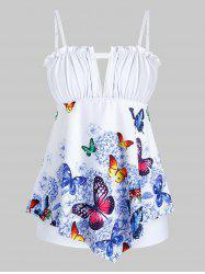 Plus Size Butterfly Print Keyhole Ruffled Trim Tankini Swimwear -
