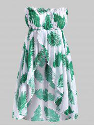 Strapless Leave Print Chiffon Plus Size Cover Up Top -