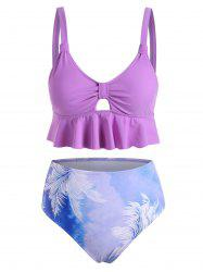 Leaves Tie Dye Hollow Out Tankini Swimwear -