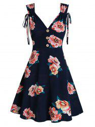 Flower Print Cinched Sleeveless Mock Button Dress -