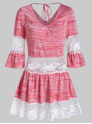 Lace Trim Bell Sleeve Marled T Shirt -