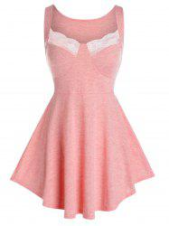 Plus Size Lace Insert Heathered Skirted Tank Top -