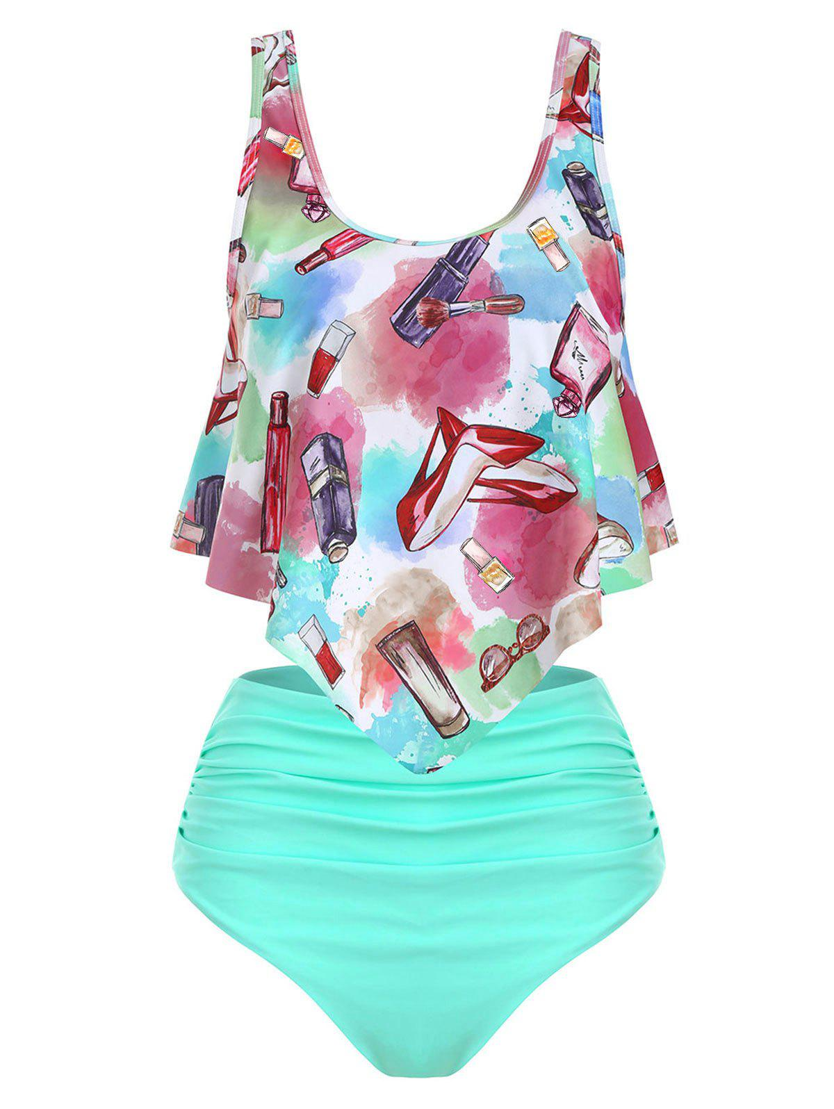 Fashion Accessories Makeup Print Ruched Tankini Set Fashion Accessories Makeup Print Ruched Tankini Set