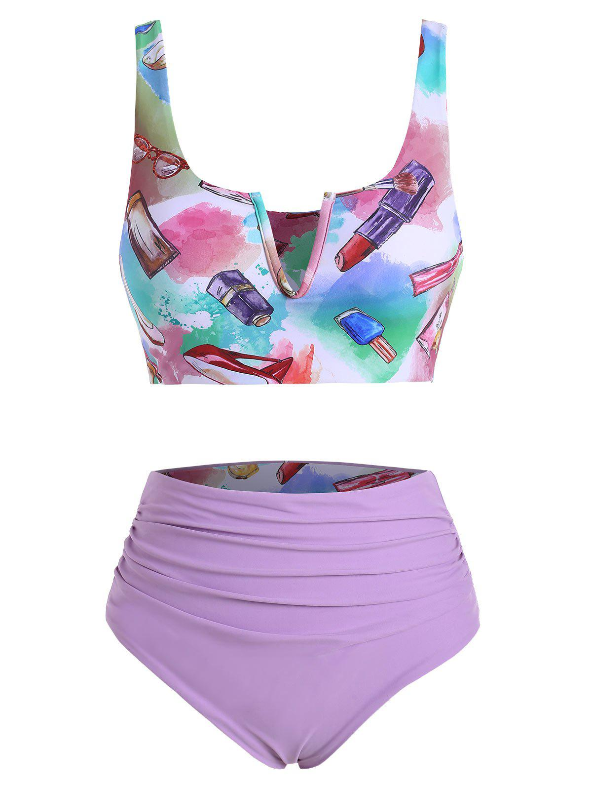 Buy Fashion Accessories Makeup Print V-wired Ruched Reversible Tankini Set
