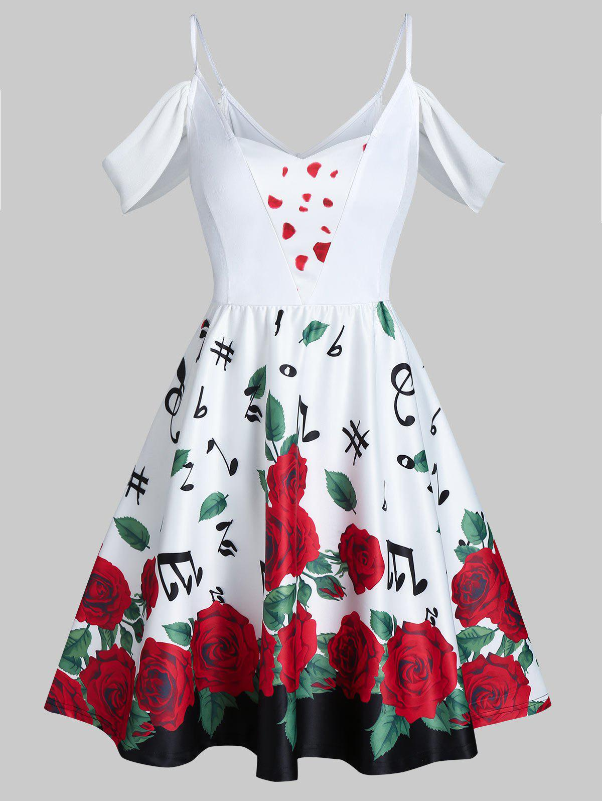 Fancy Valentine Flowers Music Notes Print Cold Shoulder Mini Dress
