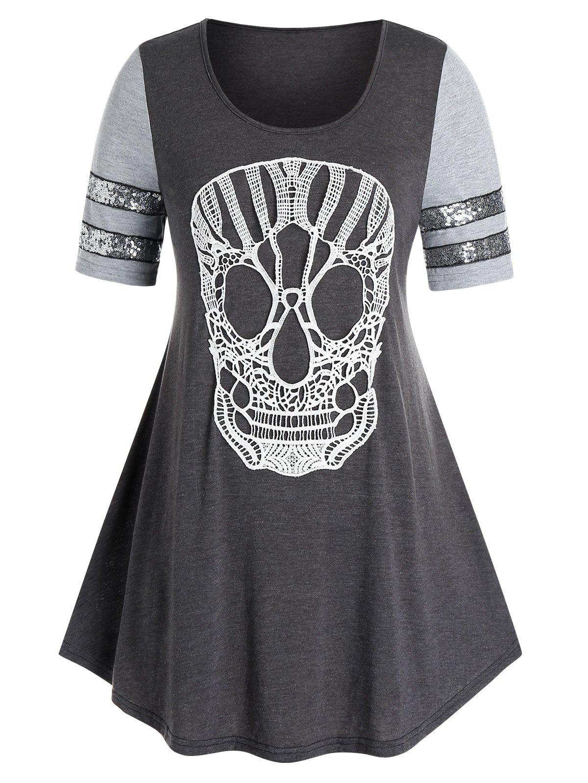 Hot Plus Size Lace Skull Sequin Swing T Shirt