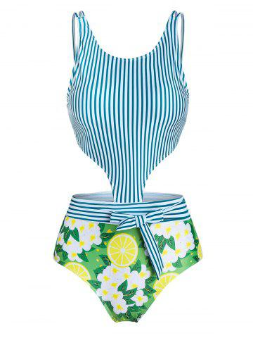 Vertical Striped Bowknot Cut Out One-piece Swimsuit - CLOVER GREEN - 3XL