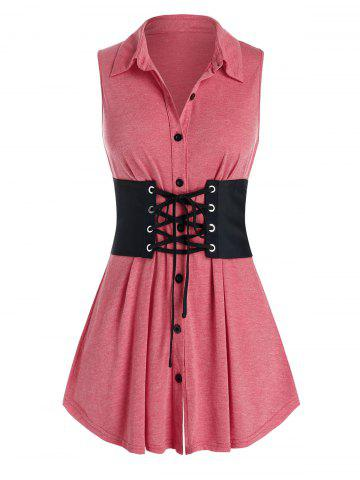 Plus Size Button Up Tank Top With Lace Up Corset Belt