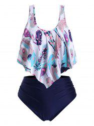 Ruched Strappy Feather Print Flounces Plus Size Tankini Swimsuit -