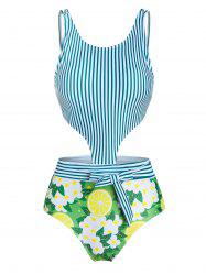 Vertical Striped Bowknot Cut Out One-piece Swimsuit -