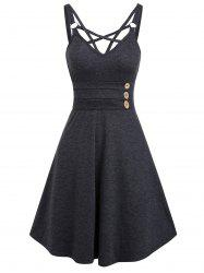 Strappy Open Back Mock Button Casual Dress -