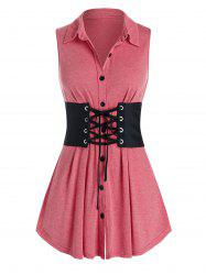 Plus Size Button Up Tank Top With Lace Up Corset Belt -