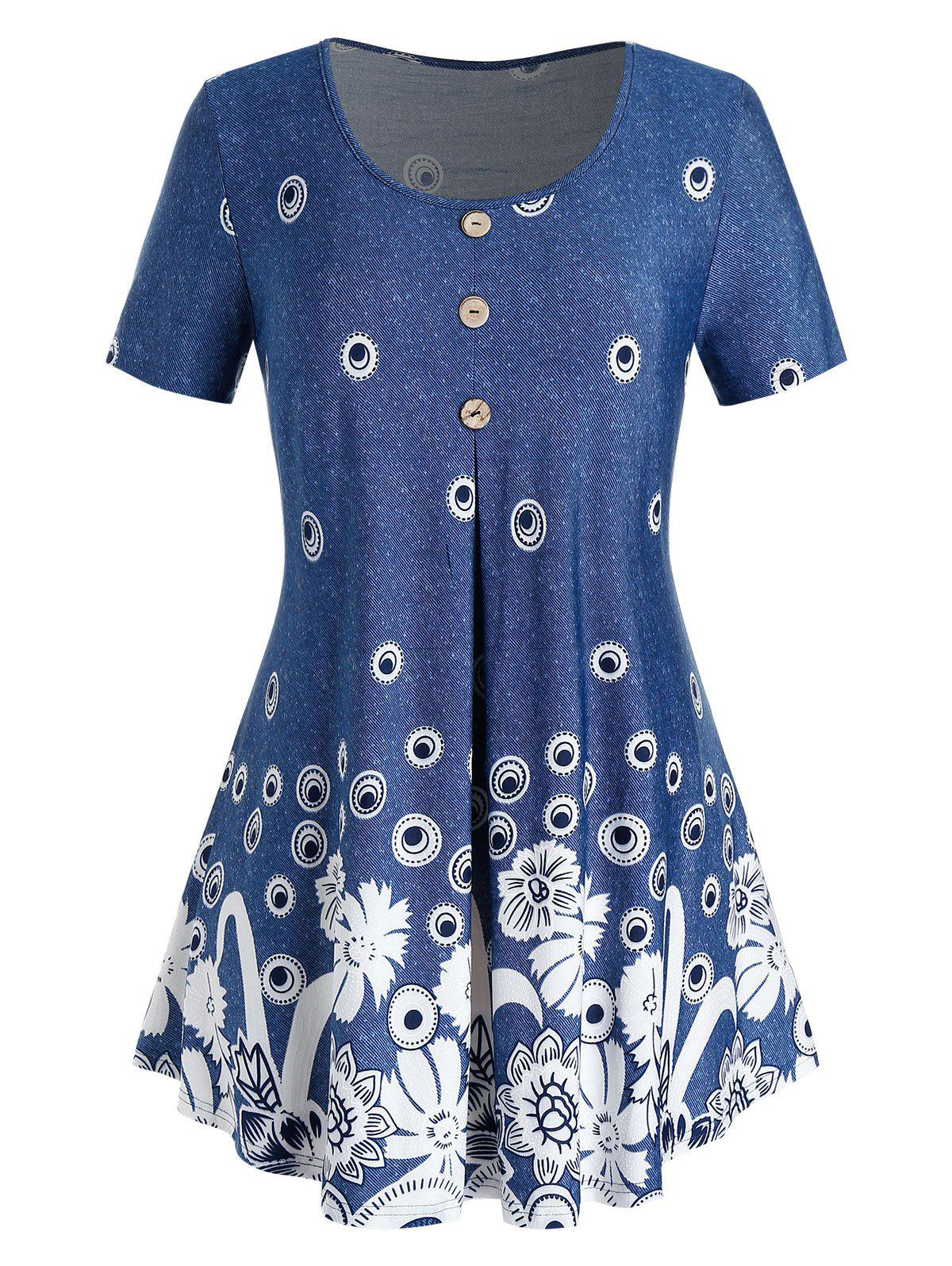 Outfit Plus Size Printed Tunic Swing T Shirt