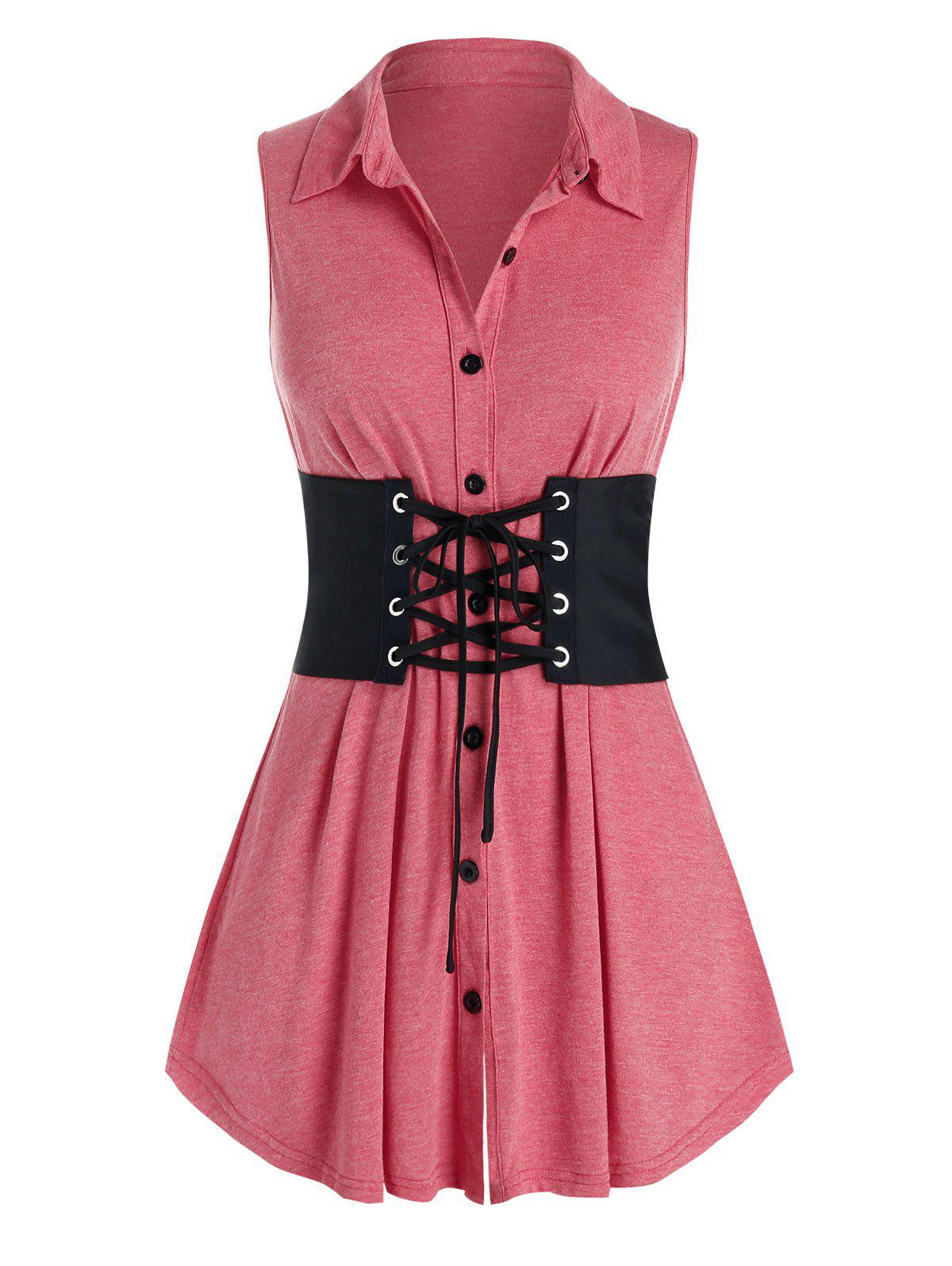Latest Plus Size Button Up Tank Top With Lace Up Corset Belt