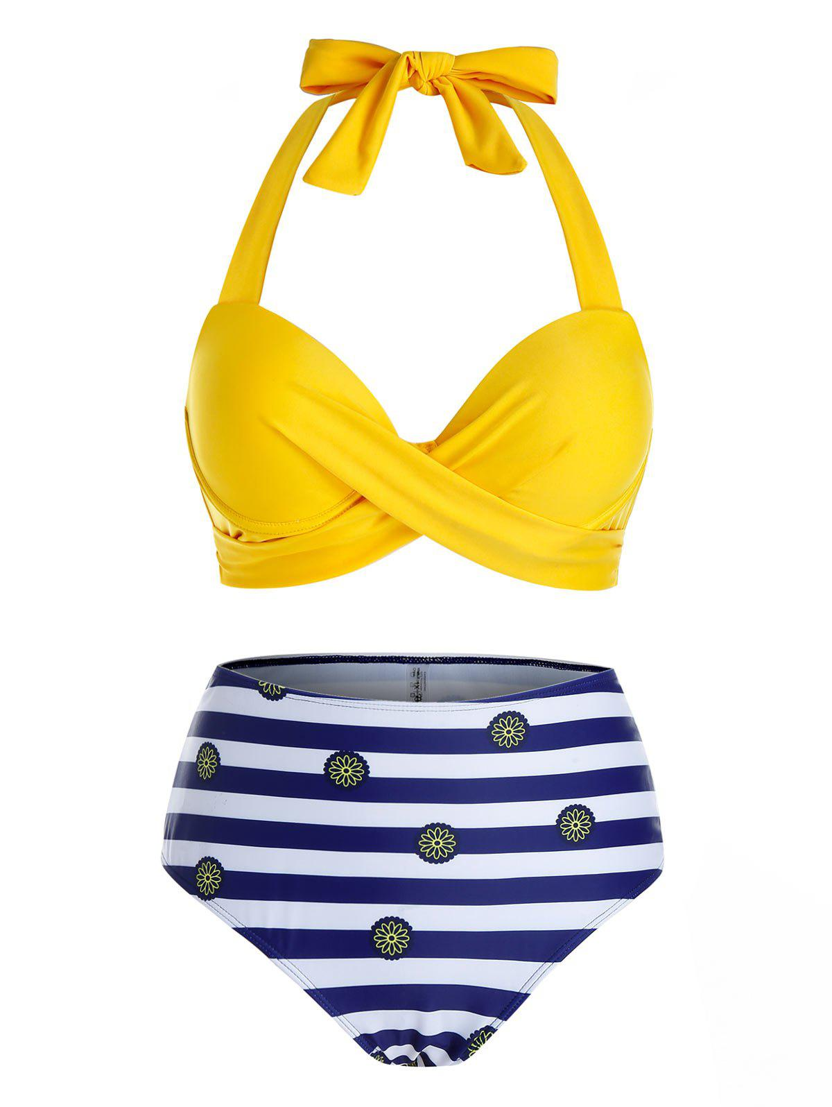 Fancy Plus Size Striped Knotted Halter High Waisted Bikini Swimwear