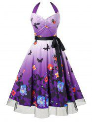 Plus Size Butterfly Flower Halter Ruched Dress -