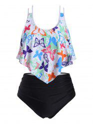 Strappy Flounces Dazzling Butterfly Plus Size Tankini Swimsuit -
