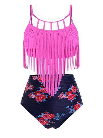 Ruched Fringed Floral High Waisted Plus Size Tankini Swimsuit - ROSE RED - 5X