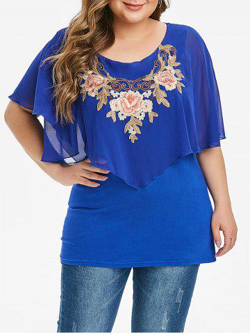 Overlay Chiffon Panel Floral Embroidered Plus Size Blouse - BLUE - L