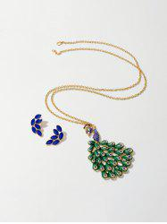 Rhinestone Peacock Feather Earrings Necklace Set -