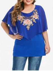 Overlay Chiffon Panel Floral Embroidered Plus Size Blouse -