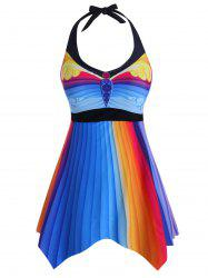 Halter Colorful Stripes Printed Plus Size Tankini Swimsuit -