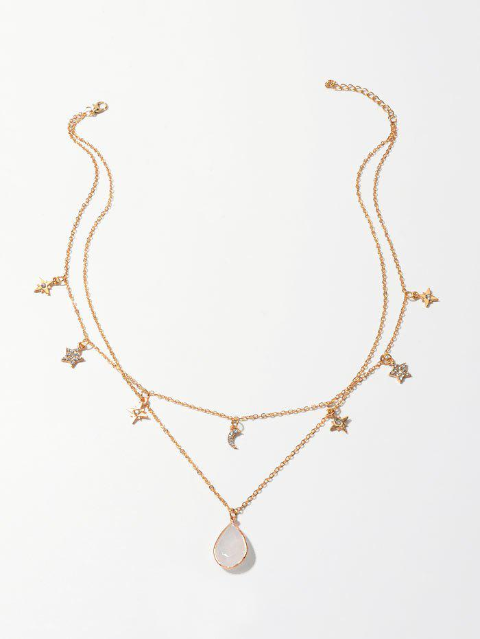 Star Moon Water Drop Layered Necklace, Gold