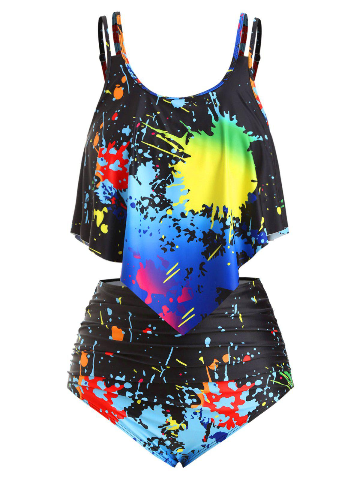 Store Overlay Ruched Strappy Splatter Paint Plus Size Tankini Swimsuit