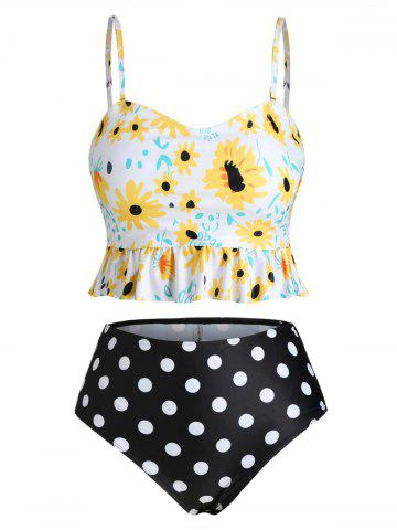 Peplum Hem Floral Polka Dot Plus Size Tankini Swimsuit - SUN YELLOW - L