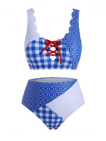 Scalloped Trim Plaid Panel Lace Up Plus Size Bikini Swimsuit - SKY BLUE - 4X
