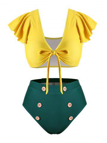Flounced Sleeve Mock Button Tie Front Plus Size Two Piece Swimsuit - YELLOW - 4X
