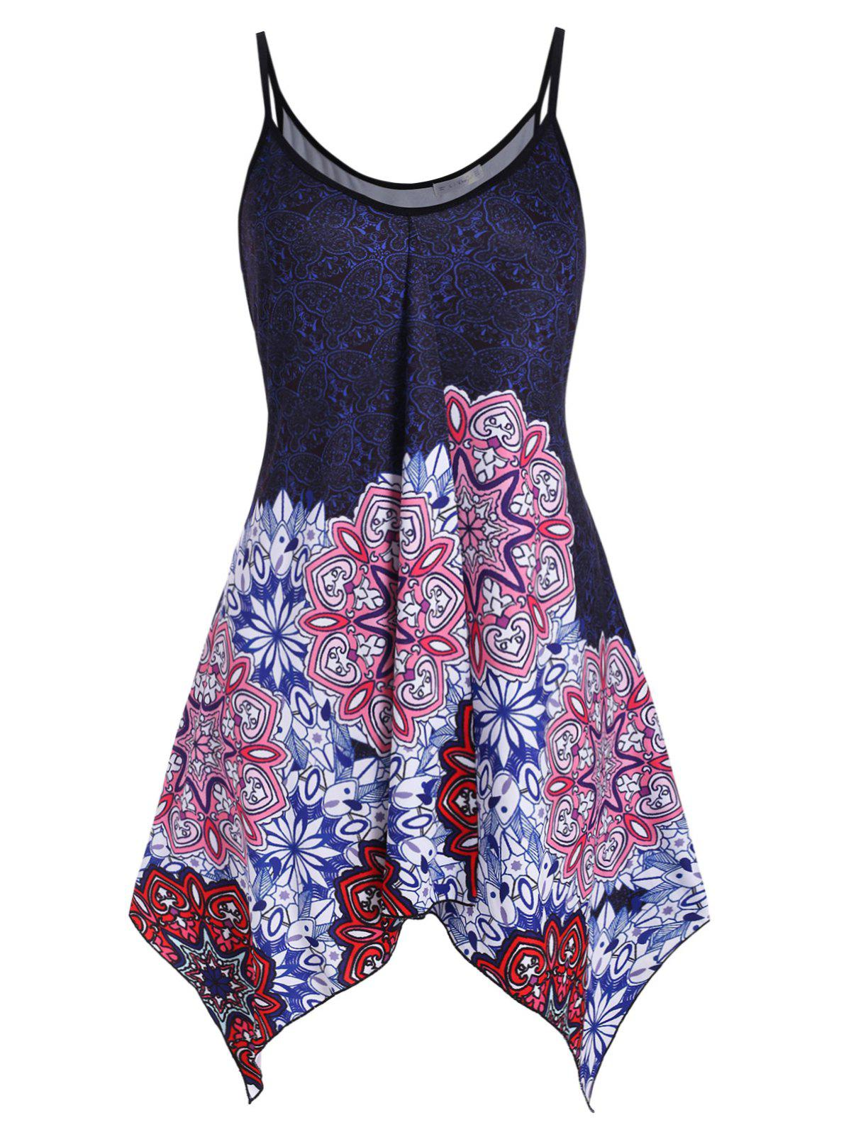 Handkerchief Longline Butterfly Printed Plus Size Cami Top фото