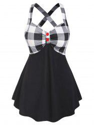 Two Buttoned Criss Cross Back Plaid Panel Plus Size Tank Top -