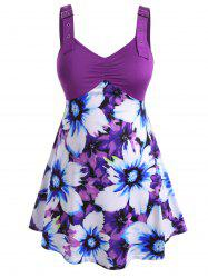 Buckle Straps Gathered Front Floral Plus Size Tank Top -