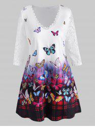 Plus Size Butterfly Print Lace Sleeve T Shirt -