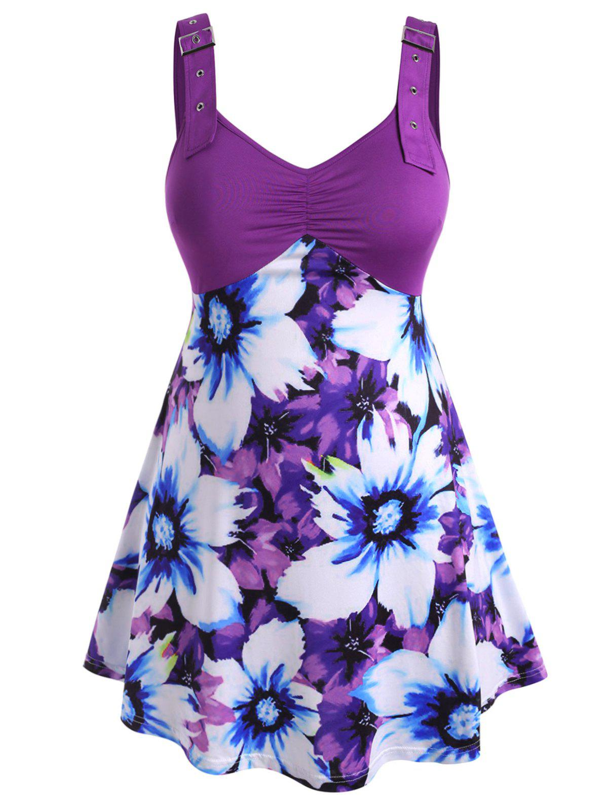 Chic Buckle Straps Gathered Front Floral Plus Size Tank Top