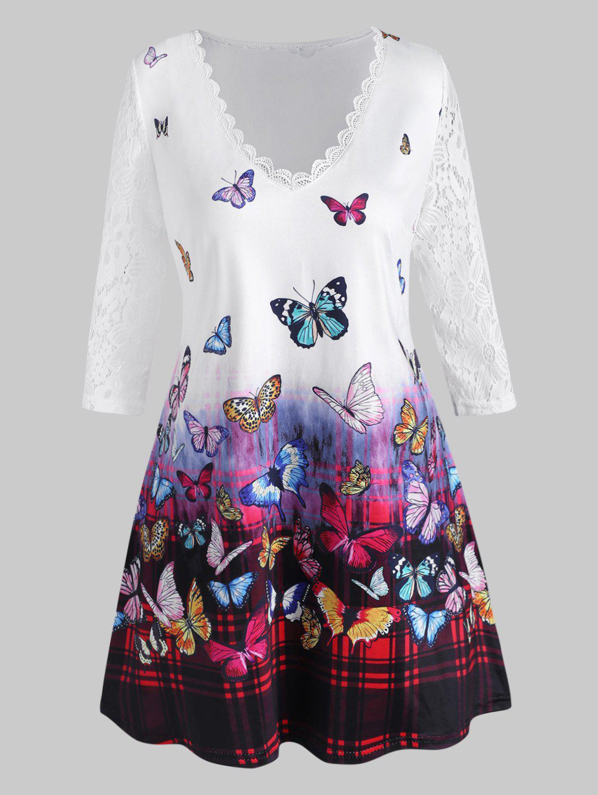 Cheap Plus Size Butterfly Print Lace Sleeve T Shirt