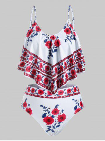 Layered Flounces Floral Plus Size Tankini Swimsuit - RED - 4X