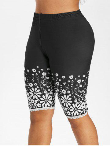 High Waisted Floral Lace Trim Knee Length Plus Size Leggings