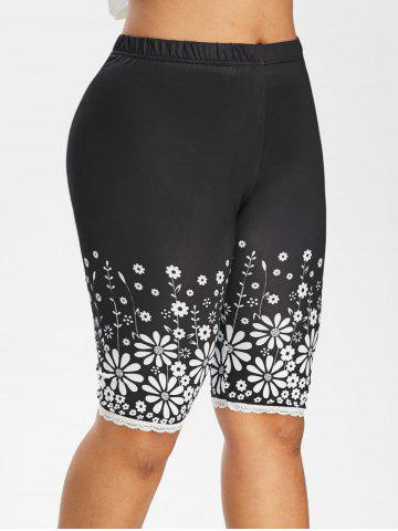 High Waisted Floral Lace Trim Knee Length Plus Size Leggings - BLACK - 2X