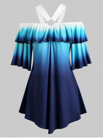 O Ring Cold Shoulder Flounces Ombre Plus Size Top - BLUE - 2X