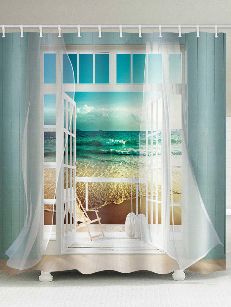 Window Beach Printing Waterproof Shower Curtain фото